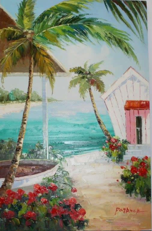 Colombia Scenery Beach Original Oil Picture Framing In