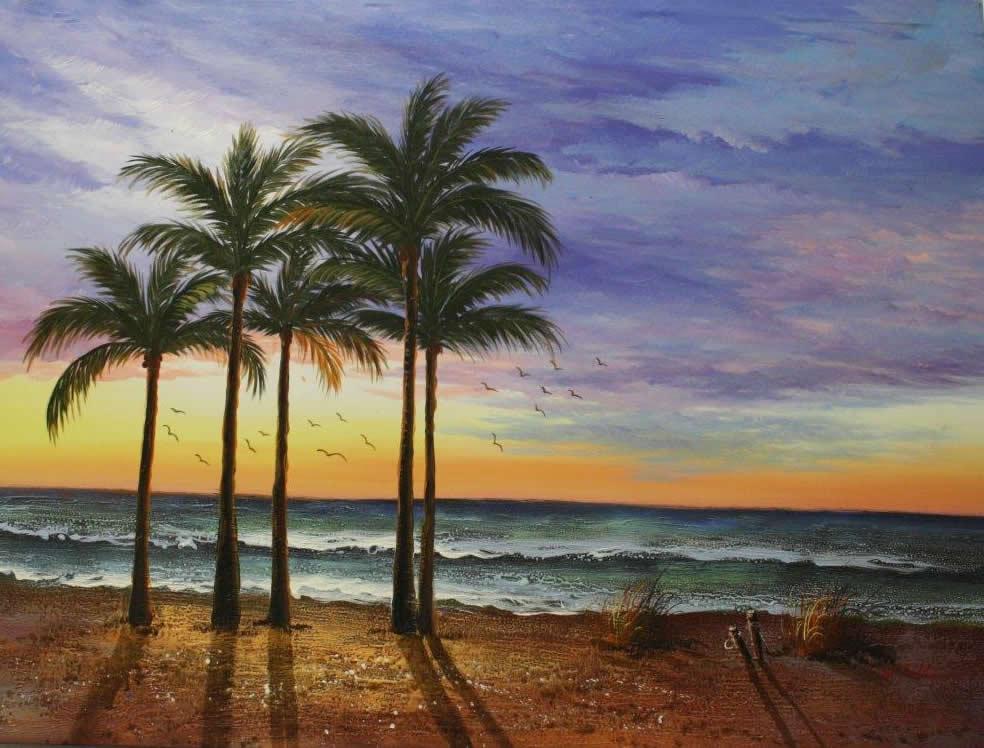 West Coast Sunset Original Art Picture Framing In Boca