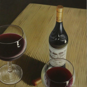 l'chayim (painting of wine bottle)