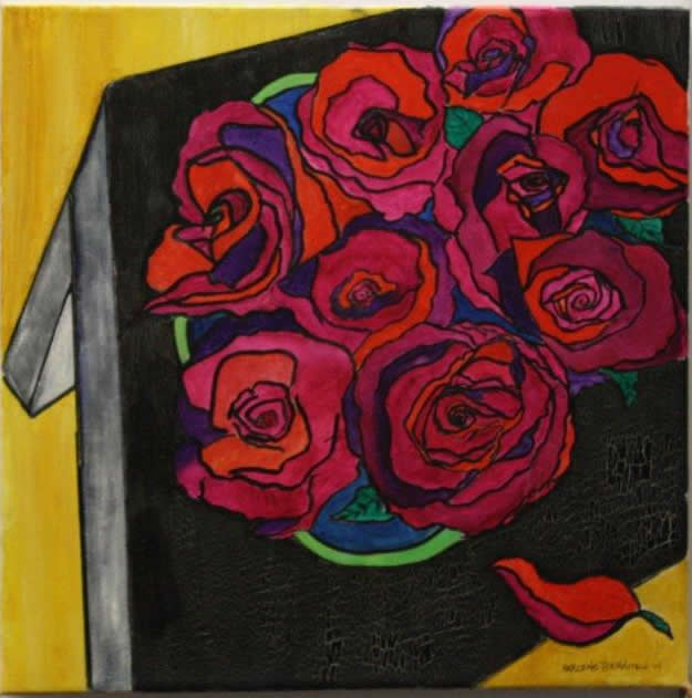 Red Roses Original Floral Painting Picture Framing In