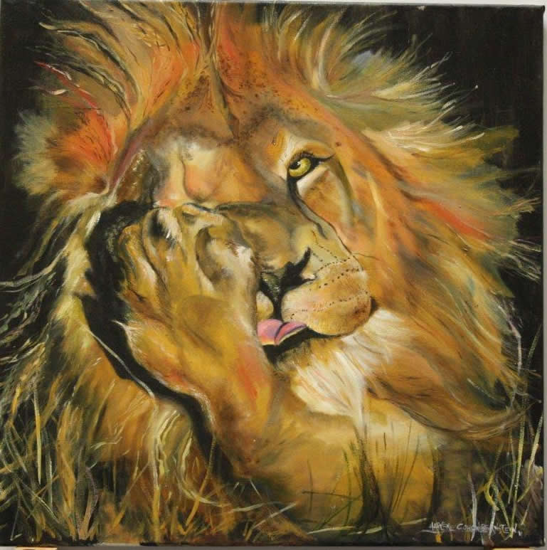 lion lick by harlene cohen original painting picture. Black Bedroom Furniture Sets. Home Design Ideas