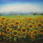 Sun Flowers forever high gloss acrylic abstract (paintings in Boca Raton)