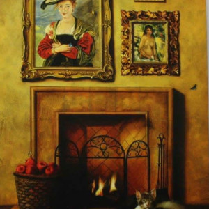 kittens by the fireplace (geclee by Orlando)