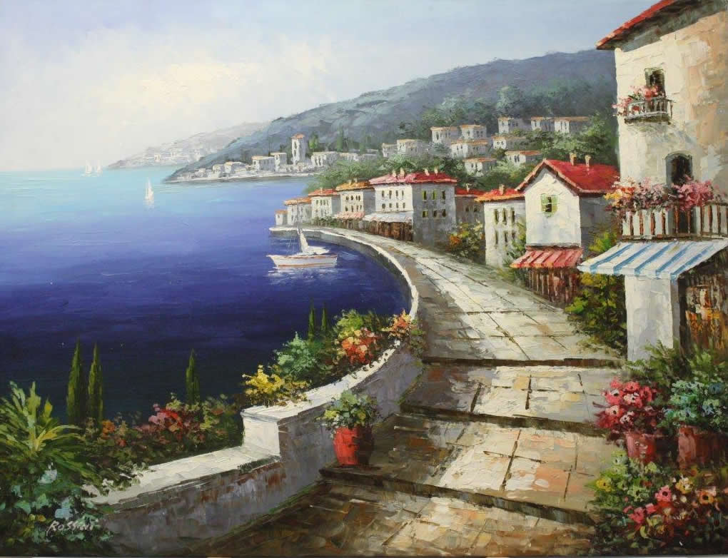 Mediterranean Coast Sea Scape Paintings Picture